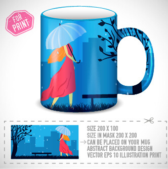 girl and umbrella on the cup vector
