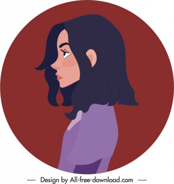 girl avatar template face side sketch cartoon character