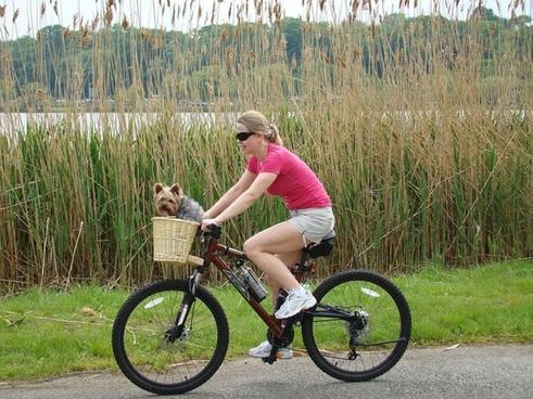 girl bike lake