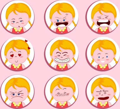 girl emotional icons collection round isolation cute design