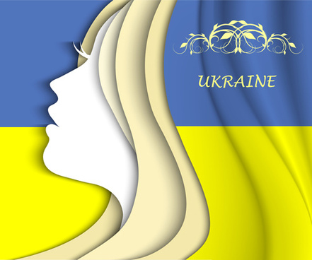 girl face with ukraine flag vector background