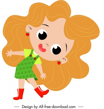girl icon cute cartoon character sketch