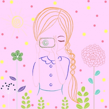 girl icon sketch colored hand drawn camera hobby