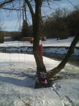 girl in winter tree