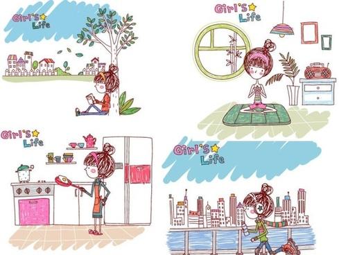 girl life vector eps girl life5