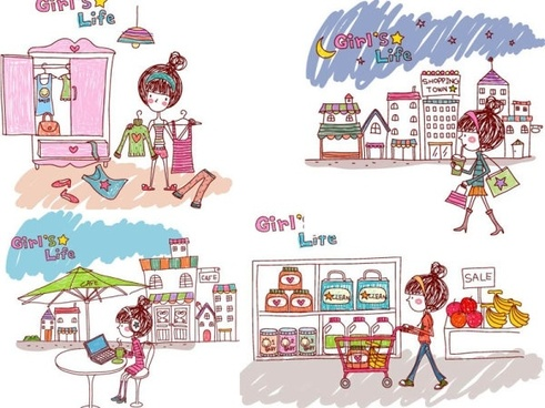girl life vector eps girl life