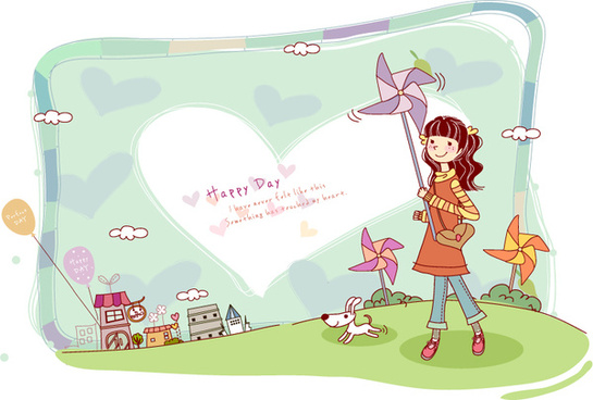 girl playing with pinwheel vector