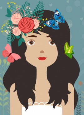 girl portrait drawing multicolored flowers butterflies decor