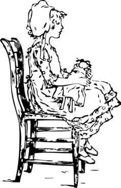 Girl Sitting On A Chair clip art