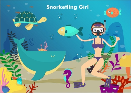 girl snorkelling in sea vector illustration in colors