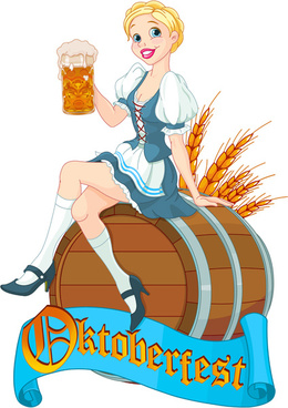 girl with beer oktoberfest vector