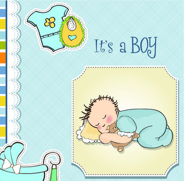 girls and boys baby vector cards