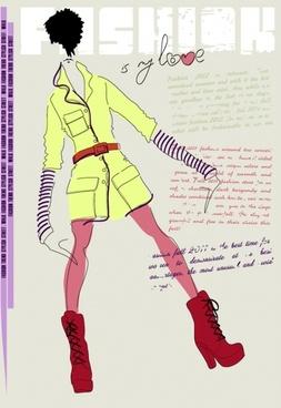 girls fashion illustrator 01 vector