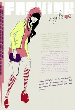 girls fashion illustrator 04 vector
