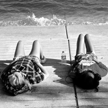 girls relaxing