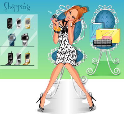 girls shopping set0 vector
