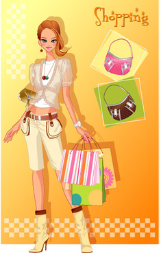 girls shopping set2 vector