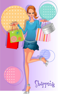 girls shopping set4 vector
