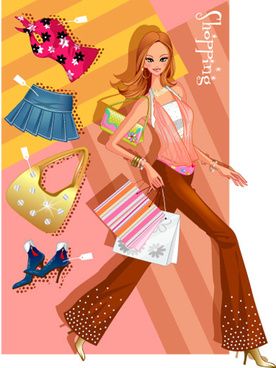 girls shopping set5 vector