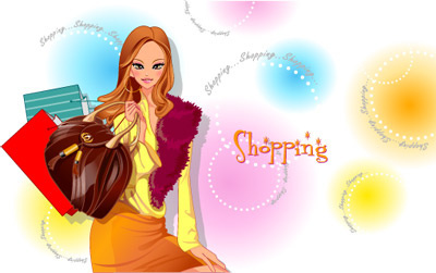 girls shopping set6 vector