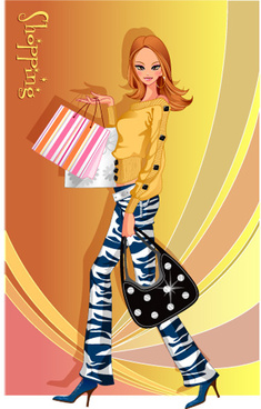 girls shopping set7 vector