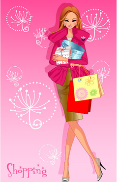 girls shopping set9 vector