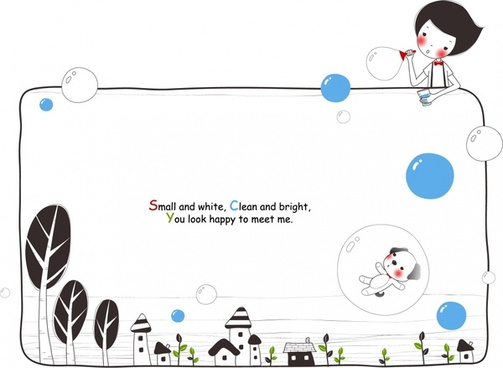 childhood card template joyful boy puppy bubbles icons
