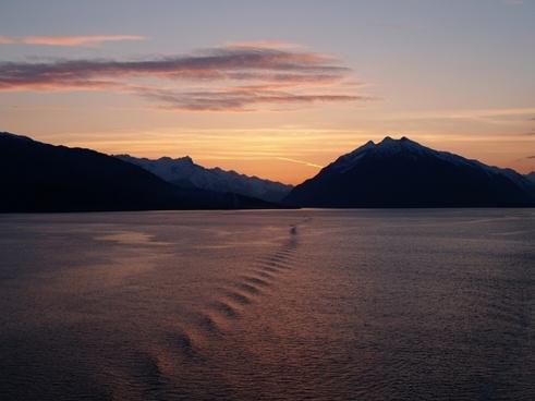 glacier bay sunset alaska