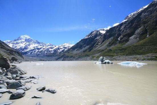 glacier mount cook lake