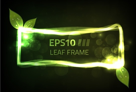 leaf frame template sparkling bokeh green light effect