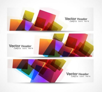 decorative banner templates modern colorful cubes sketch