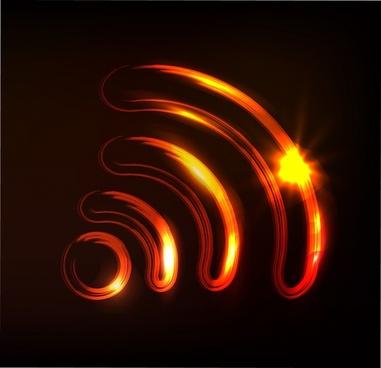 wave signal icon modern sparkling light design