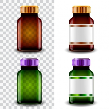glass bottle icons shiny transparent colored realistic design