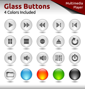 glass buttons for web design vector