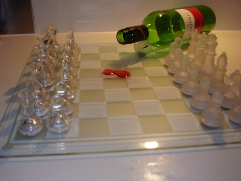 glass chess wine spill