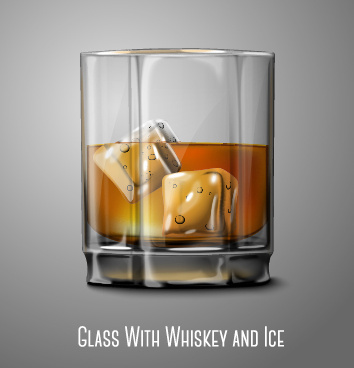 glass cup with whiskey and ice vector