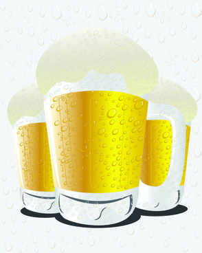glass cups with beer vector graphics