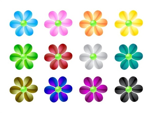 decorative flowers sets with various colors illustration