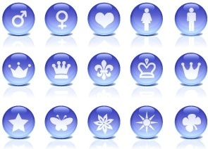 shiny icons with various illustration in blue circles