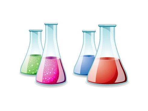 glass lab bottles vector illustration on white background