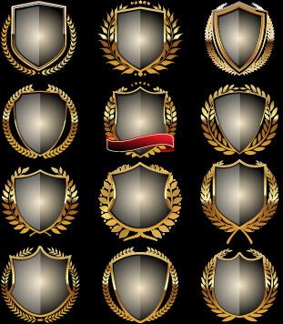 glass laurel wreath badges vector