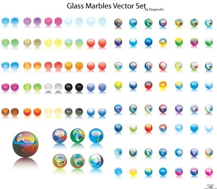 glass marbles vector set illustration with various sizes