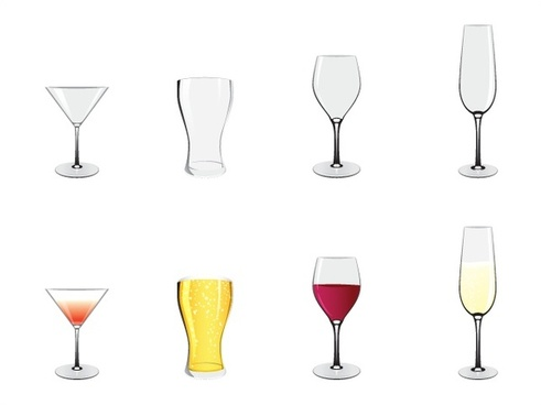 alcohol glasses vector illustration with full and empty