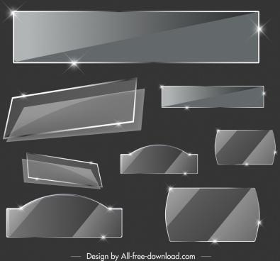 glass tags templates luxury dark grey shiny decor