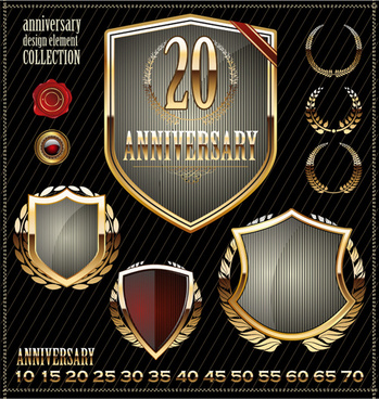 glass texture anniversary labels design vector