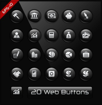 glass texture black web buttons vector set