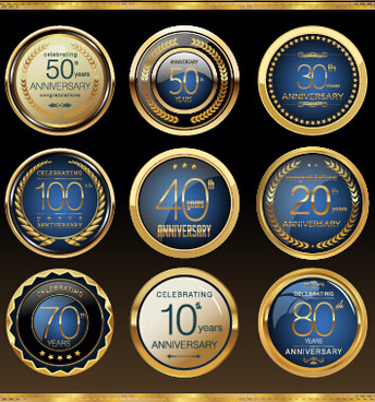 glass textured badges anniversary vector