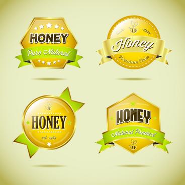glass textured honey labels vector
