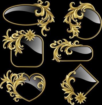 decorative elements templates luxury shiny lace glass shapes