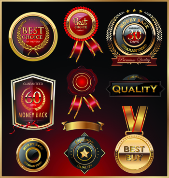 glass textured quality labels with badge vector